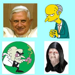 "Images of the pope, Mr. Burns, Simon Bar Sinister, & the Emperor from ""Star Wars"""